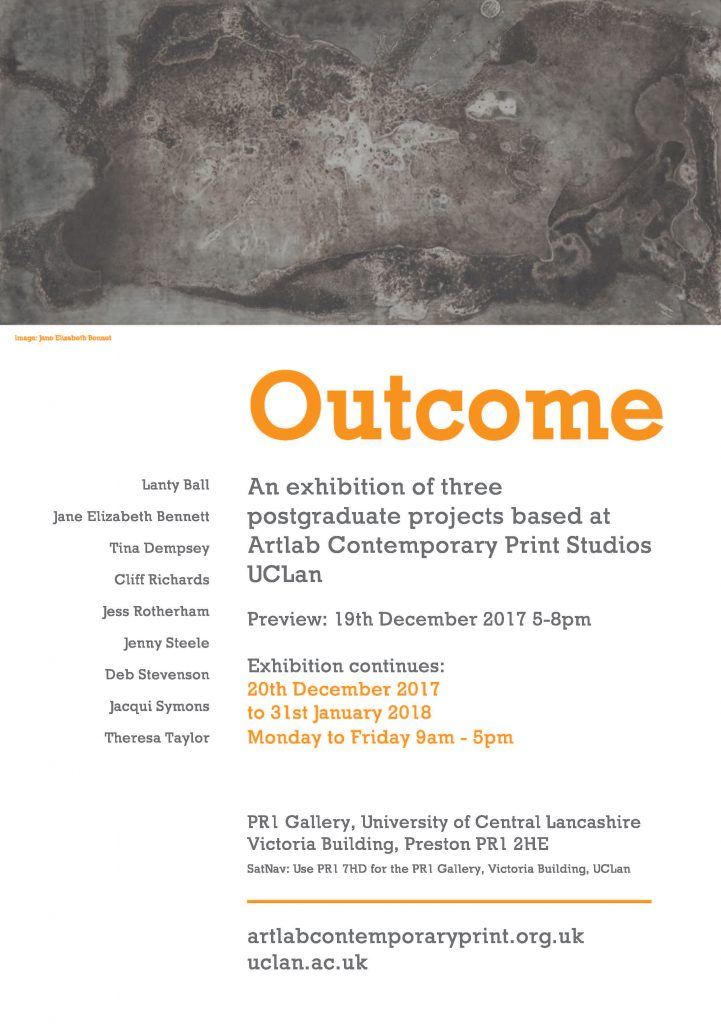 Invite to the Outcome Exhibition, PR1 Gallery Preston